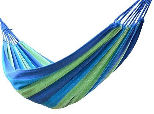 Stormiay loisirs de plein air hamacs doubles 1person de coton 450LBS ultralight hamac de camping (Bleu, L)