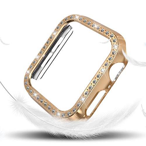 DLCYMY Funda de Diamantes para Mujeres para la Serie de Relojes de Apple 4 40mm 44mm para Cubierta Protectora de iWatch PC Estuche de Reloj Cáscara