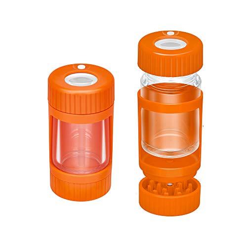 Tarro de almacenamiento con luz LED, hermético al aire, a prueba de olores, tarro con lupa de 8 veces, tarro luminoso con molinillo, recipiente para hierbas 110 ml (naranja, With Grinder)