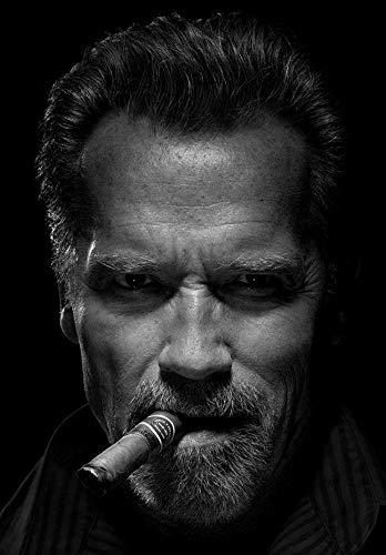 Handaxian Carteles e Impresiones con el Arte del cigarro de Schwarzenegger sobre Lienzo Pintura decoración del hogar 70x110cm sin Marco