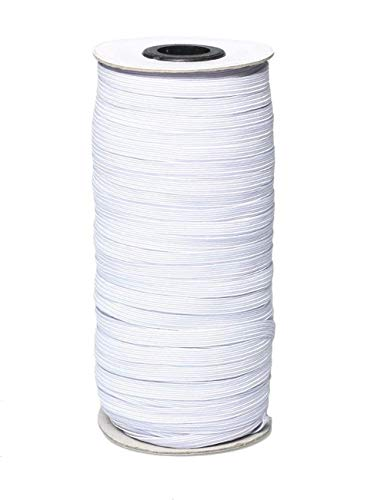 Elastic Bands for Sewing 1/4 Inch White | SIBEITU 100 Yards Elastic Bands | Crafts Flat Elastic Band Braided Stretch Strap Cord Roll for Sewing and Crafting DIY (100 Yards White)