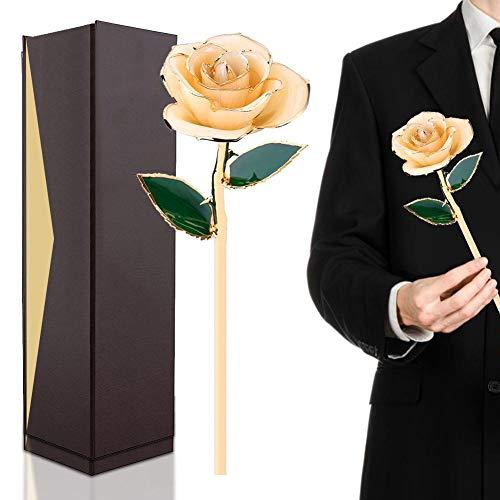 Filfeel Rose, 24K Champagner Rose mit Verpackungskasten, Romantisches persönliches liebevolles Blumengeschenk für Frau Freundin Geburtstag Muttertag Hochzeitstag Jahresta