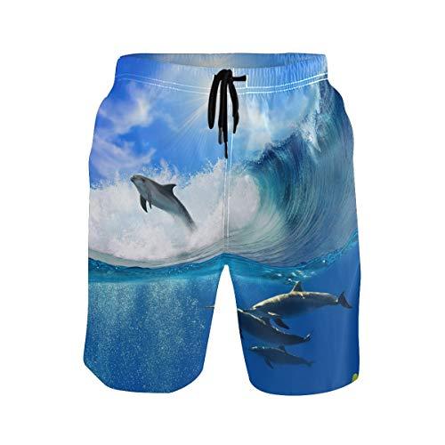 BKEOY Herren Strand-Shorts Sonnenlicht Ozean Meer Delphin Landschaft Shorts Sommer schnell trocknend Surfbrett Badehose mit Netzfutter Gr. XXL, Multi