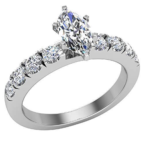 Anillos de compromiso para mujer, talla marquesa de oro blanco de 18 quilates, 0,70 quilates (D, VVS), certificado GIA (tamaño de anillo 6)