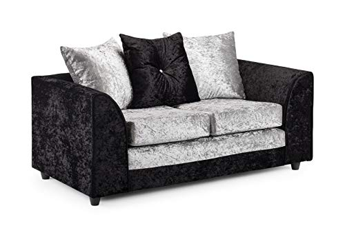 Honeypot - Sofa - Harley - 3 + 2 Seater - Corner Sofa - Footstool - Crushed Velvet - (Black/Silver, 2 Seater)
