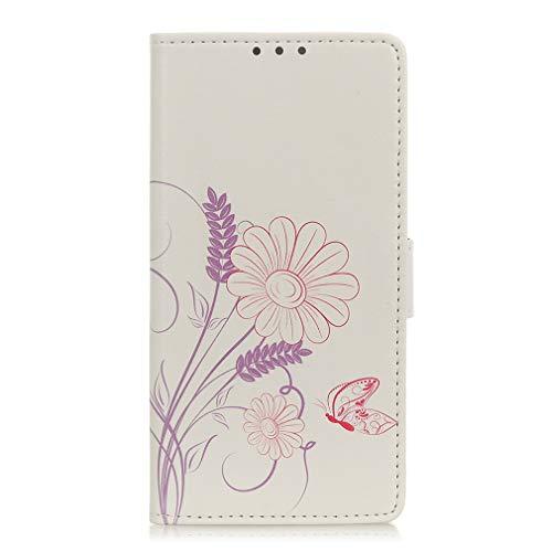 LMFULM® Hülle für LG V60 ThinQ 5G (6,8 Zoll) PU Leder Magnet Brieftasche Lederhülle Schmetterling Liebe Blumen Muster Stent-Funktion Ledertasche Flip Cover
