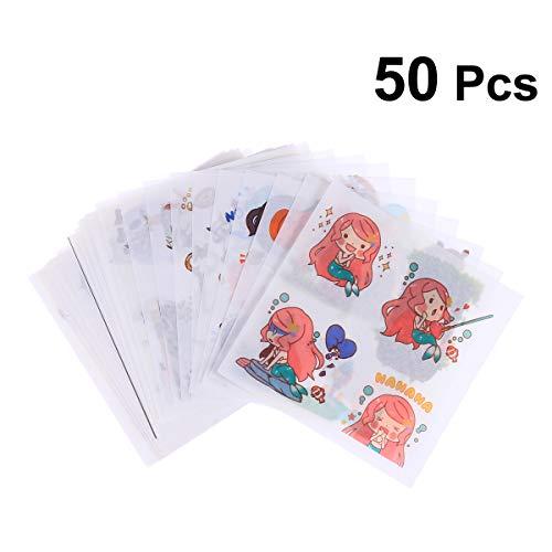 Toyvian 50 unids Creativo Lindo Claro DIY planificador del Libro de Recuerdos papelería Hoja de Etiqueta para Adultos niño niñas Mano Cuenta Haciendo (patrón de Ciudad de Cuento de Hadas)