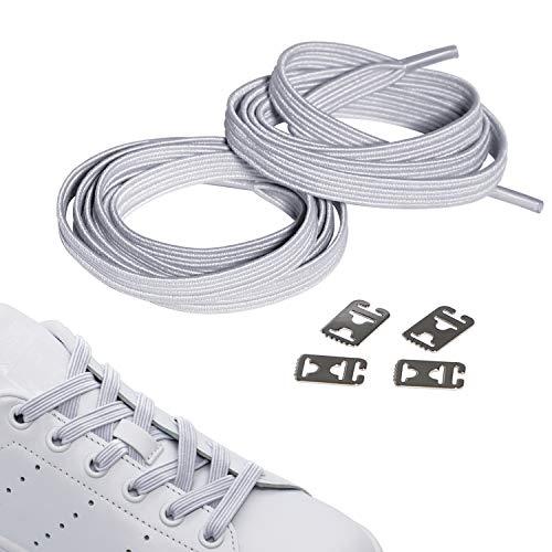 JANIRO Elastische Schnürsenkel ohne binden, Flexible schleifenlose Schuhbänder, Hickies mit einzigartigen Komfort und perfekten Sitz, Schnellschnürsystem für Sneaker, Sport und Freizeit (Weiss flach)