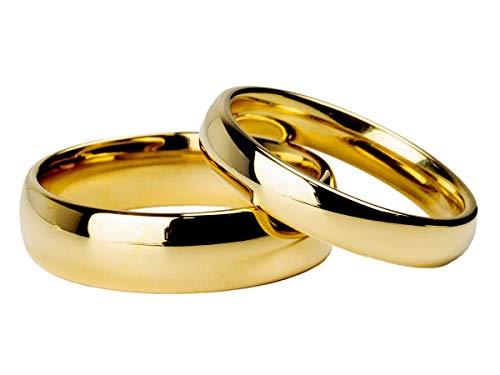 Par Alianças Tradicional 6mm e 4mm Banhada Ouro18k Tungstênio Tamanhos:4mm e 6mm;Cor:Dourado