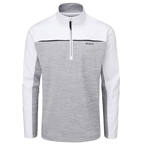Stuburt Golf Enhance - Giacca in pile, da uomo, colore: grigio/bianco, taglia M