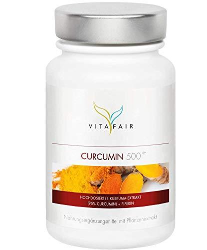VITAFAIR Curcuma Extrakt (1000mg hochdosiert pro Tag), German Quality - 90 Kurkuma Kapseln mit 95{d76cd9aac4bfd57e69f913ff6ac7fc7b219b74d9ee8c6d020d6786da7559f751} = 950mg (BCM95) pro Tagesdosis, Curcumin & Piperin, Kurkumin Kapseln vegan & ohne Magnesiumstearat