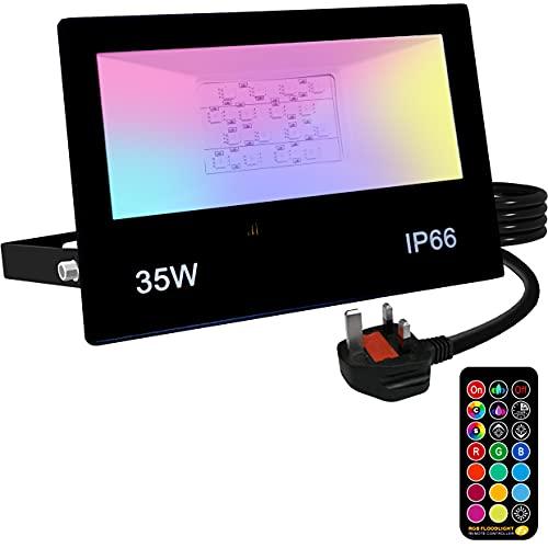 YAYZA! 1-Paquete de Reflector LED IP66 de 35W RGB + Color Blanco Mixto que Control Remoto IR con Cambio de Temporizador de Atenuación DIY Personalizable y Función de Memoria para Jardín Decora