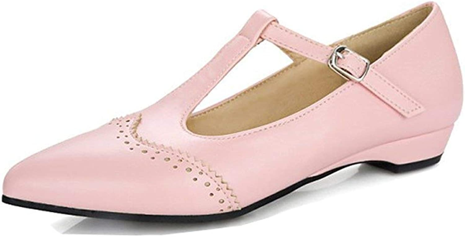 Unm Women's Casual Chunky Low Heel Buckled Low Cut Dressy Pointed Toe T Strap Pumps shoes with Ankle Strap
