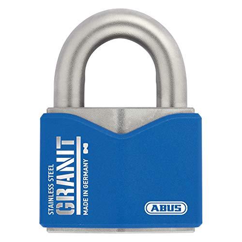 ABUS Vorhangschloss Granit 37ST/55 SZP Premium-Schloss für höchste Beanspruchungen - edelstahl - Sicherheitslevel 10 - inkl. 2 Schlüssel und Sicherungskarte - blau - 79187
