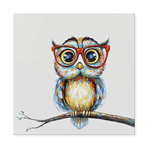 JAPO ART Owl with Glasses Funny Animal Picture Canvas Wall Art Hand Painted Decor Oil Painting Stretched Framed Artwork for Home Bedroom Living Room Decoration(24