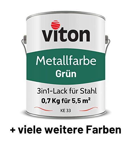 VITON Metallfarbe in Grün - 0,7 Kg Metall-Schutzlack Glänzend - Dauerhafter Schutz & hohe Beständigkeit - 2in1 Grundierung & Deckfarbe - Metalllack direkt auf Rost - KE33 - RAL 6005 Moosgrün