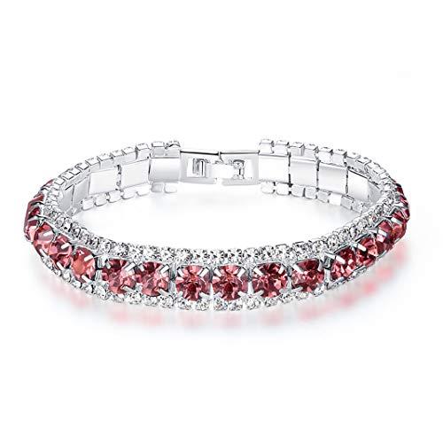 Sperrins Women Girls Mother's Day Charms Bracelet Jewellery Accessories Gift Pink Rhinestone