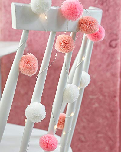 Talking Tables LED Fairy String Gorgeous Birthday Party or for Home Decor, Paper, Pink POM POM Lights 2M 20LEDS