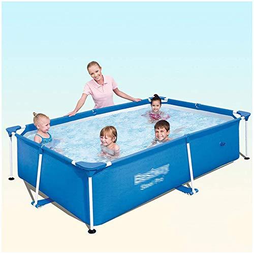 YKHOME Grande Piscina, Centro di Nuoto per Bambini E Adulti,con Staffa in Tubo d'Acciaio, Rettangolare da Giardino Stagno da Pesca di Grande capacità Ispessito Blu,221 * 150 * 43cm