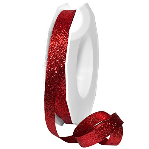 Morex Ribbon 98502/25-609 Metallic Princess Glitter, 3/8' x 25 yd, Ruby