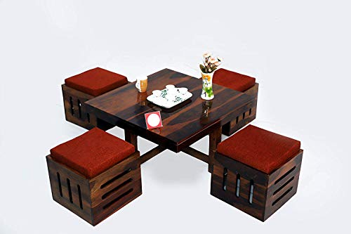 Cherry Wood Sheesham Wood Center Coffee Table with 4 Stool for Living Room (Teak Finish)