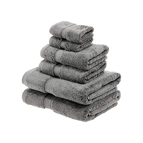 Superior 900 GSM Luxury Bathroom 6-Piece Towel Set, Made of 100% Premium Long-Staple Combed Cotton, 2 Hotel & Spa Quality Washcloths, 2 Hand Towels, and 2 Bath Towels - Charcoal