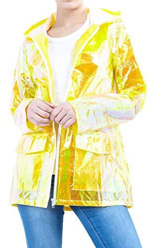 Chocolate Pickle ® Damen Holographic Mit Kapuze Leichtgewicht Fluoreszierend Festival Kagool Regenmantel Mac Jacke Mustard 36-38