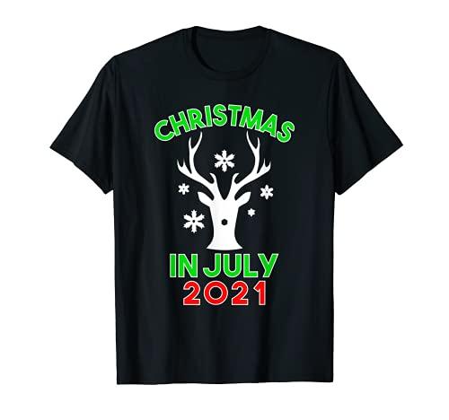 Christmas In July 2021 Reindeer Snow Merry Santa Summer T-Shirt