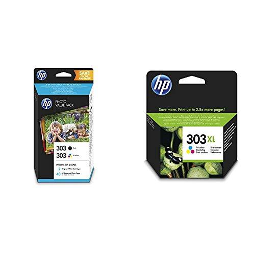 HP 303 Photo Value Pack mit 2 Druckerpatronen (Schwarz, Farbe) und 40 Blatt HP Photo Papier (10 x 15 cm) & 303XL Farbe Original Druckerpatrone mit hoher Reichweite für HP ENVY Photo
