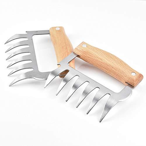 Chanhan Fleischgabeln aus Edelstahl, Rutschfester Griff mit Holzgriff, Metall-Fleischkrallen natürliches Holz
