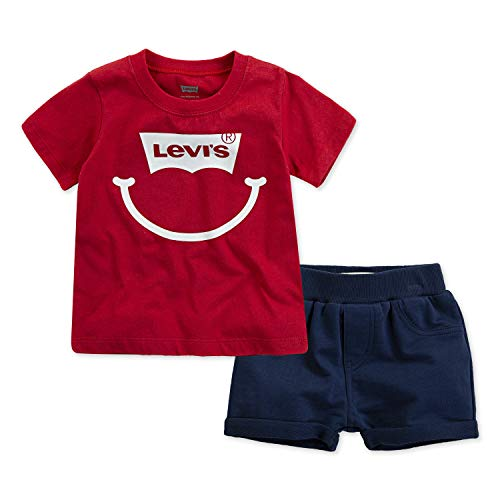 Levi's Baby Boys Graphic T-Shirt and Shorts 2-Piece Outfit Set, Lychee/Navy, 6M