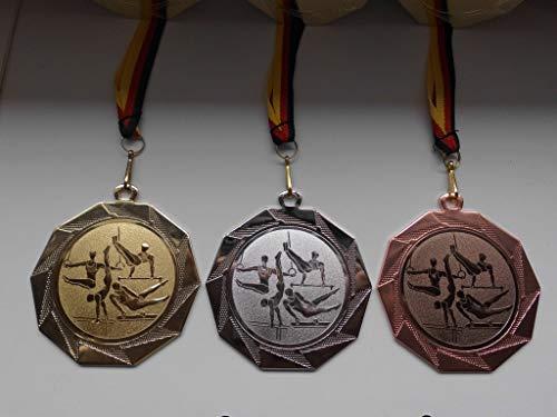 Fanshop Lünen Medaillen Set - Große Stahl 70mm - Gold, Silber, Bronze, Turnen - Reck - Herren - Medaillenset - mit Medaillen-Band - mit Alu Emblem 50mm - Gold,Silber,Bronce, (e103) -