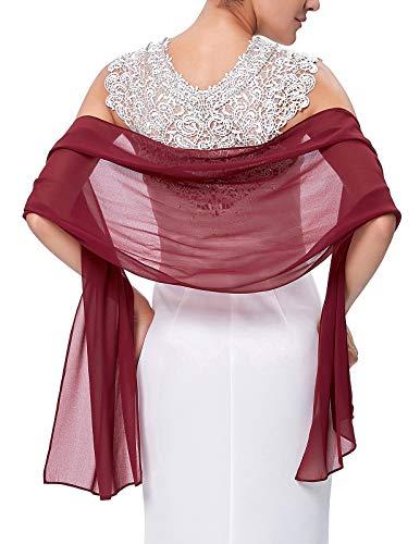 Fashion Women's Chiffon Bridal Evening Soft Wraps Shawls Scarves Wine