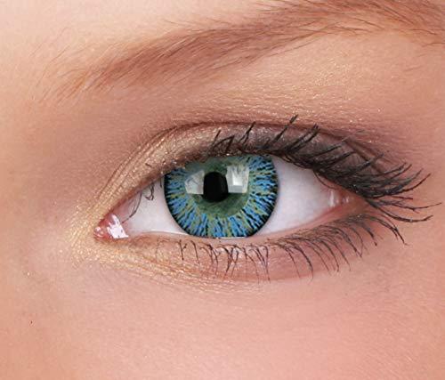 Farbige Kontaktlinse Glamour Aqua 3 Monate Einweg 14 mm stärke 0.00 von ColourVUE entfernt