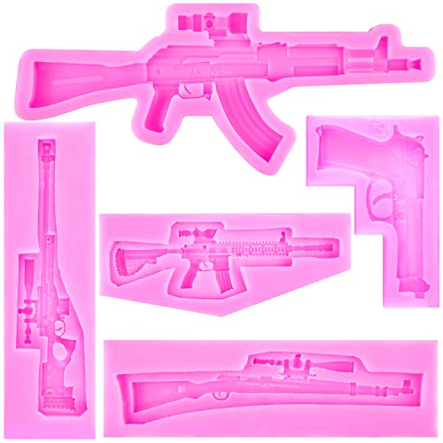 5 Pieces Machine Gun Silicone Molds Pistol Shaped Silicone Baking Molds Chocolate Candy Molds for Making Cake, Chocolate, Candy, Polymer Clay, Crafting, Jewelry Making