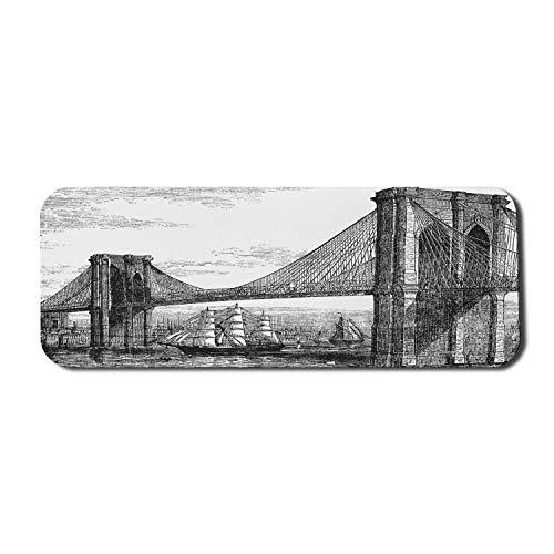 New York Computer Mouse Pad, Bleistift gezeichnete Kunst Illustration der 1890er Jahre Stil Brooklyn Bridge und East River, Rechteck rutschfeste Gummi Mousepad groß schwarz und weiß