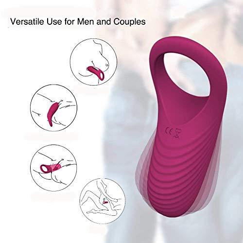 JTQMDD Männlich Längerer Ring Massagegerät Pinsel Silikon Spielzeug Pénis Vibratór Ringe 9 Geschwindigkeiten USB Geladene Männer Weich Und Flexibel