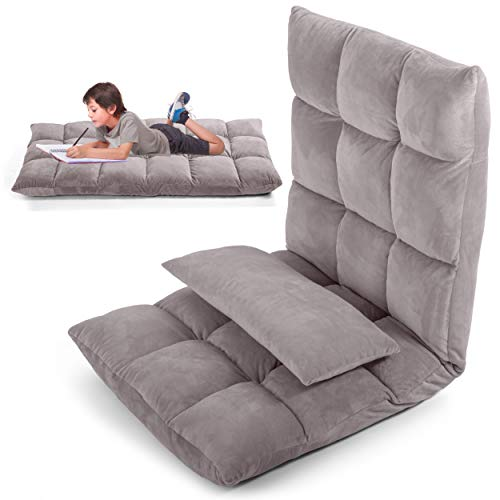 LayBäck Floor Chair with Back Support | Pillow Floor Gaming Chair with Floor Cushions for Adults | Foldable Adjustable Ergonomic Recliner | Grey Micro Plush Fabric | with Pocket and Bonus Pillow