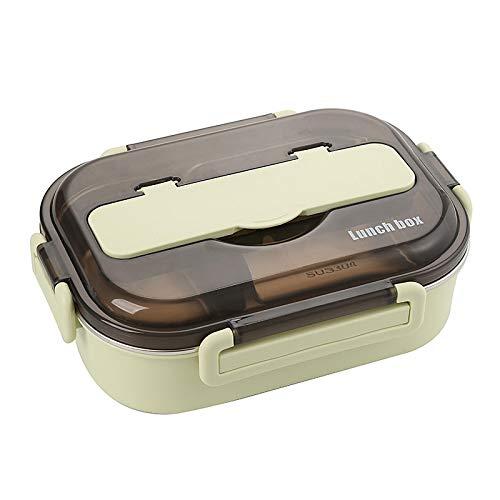 yqs Fiambrera térmica aislada de acero inoxidable con cucharas, palillos, color verde