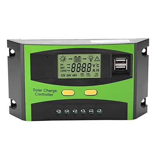 wosume Controlador de carga solar, 3 etapas PWM Smart Dual USB Panel solar Controlador de carga Regulador Pantalla LCD 12V 24V 20A