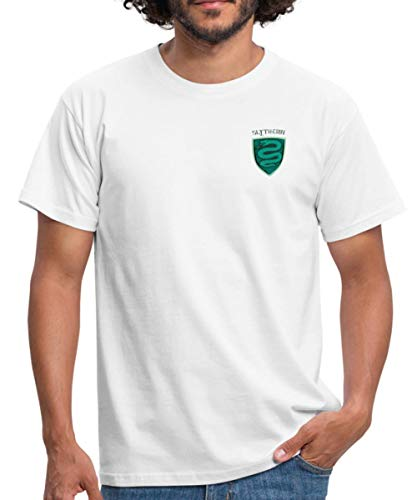 Spreadshirt Harry Potter Slytherin Kleines Logo Männer T-Shirt, L, Weiß