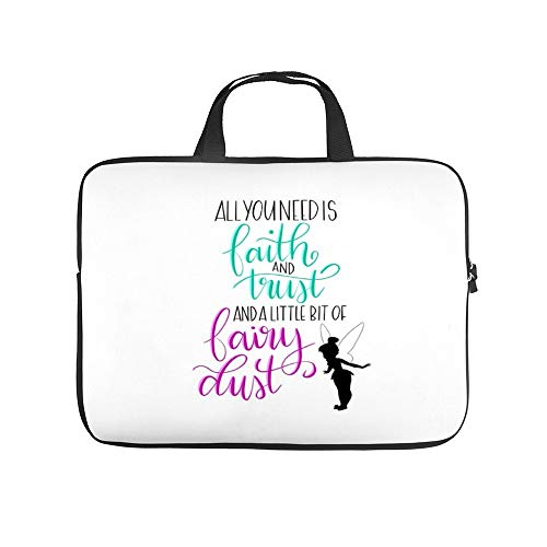 Neoprene Sleeve Laptop Handle Bag Handbag Notebook Case Cover Peter Pan Quote - Tinkerbell Portable MacBook Laptop/Ultrabooks Case Bag Cover 15 Inch