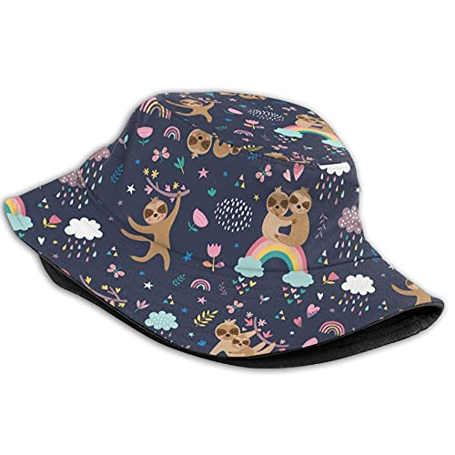 Cool Lazy Sloth Rainbow Flowers Raindrops Hearts Womens Men Fisherman Hat,Breathable Packable Foldable Bucket Hats,Portable Outdoor Reversible Sun Caps for Fishing Hunting Hiking Camping Beach Golf