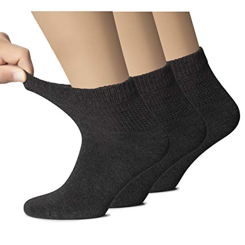Hugh Ugoli Women s Bamboo Ankle Loose Fit Socks, Soft, Seamless Toe, Wide Stretchy, Non-Binding Top, 3 Pairs, Charcoal, Shoe Size: 6-9