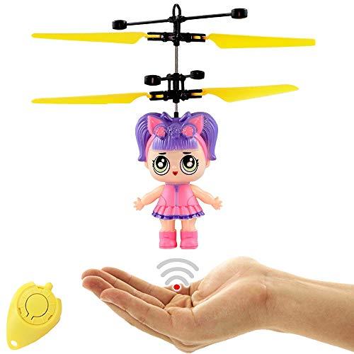 Freaky LoLa Cute Surprise Puppe (Violett) RC Fliegende Puppe mit extra Hellen LED Augen - Einfach per Handbewegung steuerbar Super Geschenk für Mädchen Fliegende Fee Drohne für Mädchen