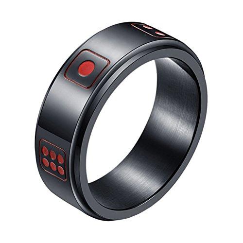 INRENG メンズ ステンレス サイコロ 幸運な 回転する リング レトロ ダイス パターン 結婚指輪 8mm ブラック 日本サイズ14号