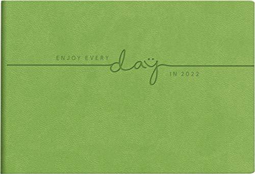 rido/idé 7017515022 Taschenkalender Septimus, 2 Seite = 1 Woche, 152 x 102 mm, Kunstleder-Einband Trend grün (Floral), Kalendarium 2022