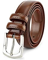 Men's Genuine Leather Dress Belt Classic Stitched Design 30mm 'ALL LEATHER' Burnt Umber (Tan 2 Tone) Size 34