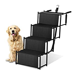 Zone Tech Car Pet Foldable Step Stairs – Premium Quality Lightweight Portable Travelling Adjustable Metal Frame Folding Ramp Stairs Perfect for Any Size of House Pets