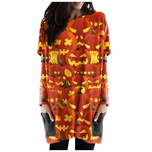 LianMengMVP Chemisier Long Grand Taille Costume De Visage Chemise De Citrouille Lanterne Deguisement Halloween Femme Hauts Pull Chemisier Long Fluide Pas Cher Tee Shirt Manche Longue Femme Chic